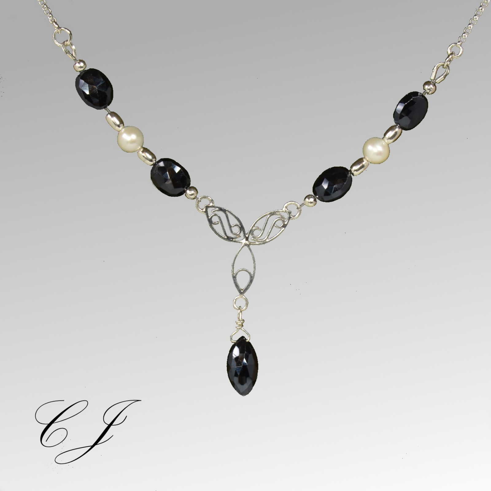 4bbd903014315 Natural Black Spinel Necklace and Earring Set